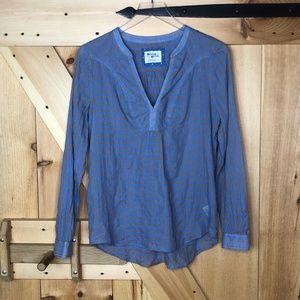 anthro   holding horses blue brown check blouse